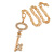Statement Crystal Key Pendant with Long Chunky Chain In Gold Tone - 70cm L - view 2