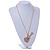 Statement Crystal Guitar Pendant with Long Chunky Chain In Gold Tone - 66cm L - view 3