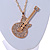 Statement Crystal Guitar Pendant with Long Chunky Chain In Gold Tone - 66cm L - view 4