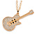 Statement Crystal Guitar Pendant with Long Chunky Chain In Gold Tone - 66cm L - view 1