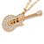 Statement Crystal Guitar Pendant with Long Chunky Chain In Gold Tone - 66cm L - view 5
