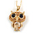 Small Champagne Coloured Crystal Owl Pendant with Gold Tone Chain - 42cm L/ 5cm Ext