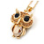 Small Champagne Coloured Crystal Owl Pendant with Gold Tone Chain - 42cm L/ 5cm Ext - view 4