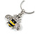 Cute Small Clear Crystal, Yellow/ Black Enamel Bee Pendant with Silver Tone Snake Chain - 40cm L/ 4cm Ext - view 2