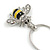 Cute Small Clear Crystal, Yellow/ Black Enamel Bee Pendant with Silver Tone Snake Chain - 40cm L/ 4cm Ext - view 3