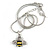 Cute Small Clear Crystal, Yellow/ Black Enamel Bee Pendant with Silver Tone Snake Chain - 40cm L/ 4cm Ext - view 4