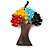 Multicoloured Glass Bead/ Brown Wood Tree Of Life Pendant with Black Cotton Cord - 76cm L - view 7