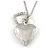 Small Double Heart Clear Crystal Locket Pendant with Silver Tone Chain - 40cm L/ 5cm Ext - view 4