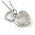 Small Double Heart Clear Crystal Locket Pendant with Silver Tone Chain - 40cm L/ 5cm Ext