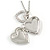 Small Double Heart Clear Crystal Locket Pendant with Silver Tone Chain - 40cm L/ 5cm Ext - view 5