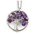 'Tree Of Life' Open Round Pendant Amethyst Semiprecious Stones with Silver Tone Chain - 44cm