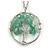 'Tree Of Life' Open Round Pendant Jade Semiprecious Stones with Silver Tone Chain - 44cm