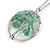 'Tree Of Life' Open Round Pendant Jade Semiprecious Stones with Silver Tone Chain - 44cm - view 3