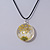 White/ Yellow Daisy Round Glass Pendant with Black Cord - 42cm L/ 5cm Ext - view 3