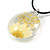 White/ Yellow Daisy Round Glass Pendant with Black Cord - 42cm L/ 5cm Ext - view 5