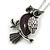 Vintage Inspired Amethyst Semiprecious Stone Owl Pendant with Silver Tone Chain - 70cm Long - view 3