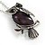 Vintage Inspired Amethyst Semiprecious Stone Owl Pendant with Silver Tone Chain - 70cm Long - view 4