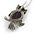 Vintage Inspired Amethyst Semiprecious Stone Owl Pendant with Silver Tone Chain - 70cm Long - view 5
