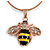Small Cute 'Bee' Pendant Necklace In Rose Gold Tone Metal - 40cm Length & 4cm Extension - view 2