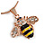 Small Cute 'Bee' Pendant Necklace In Rose Gold Tone Metal - 40cm Length & 4cm Extension