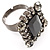 Queen Of Beauty Jet-Black Crystal Cocktail Ring - view 3