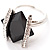 Square Cut Jet Crystal Fashion Ring