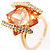 Square Cut Champagne Crystal Fashion Ring