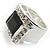 Emerald-Cut Black CZ Wide Band Fashion Ring - view 4