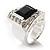 Emerald-Cut Black CZ Wide Band Fashion Ring