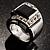 Emerald-Cut Black CZ Wide Band Fashion Ring - view 3