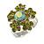 Green Diamante Floral Ring