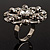 Rhodium Plated Clear Flower Cocktail Ring - view 5