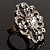 Rhodium Plated Clear Flower Cocktail Ring - view 9