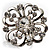 Rhodium Plated Clear Flower Cocktail Ring - view 6