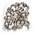 Rhodium Plated Clear Flower Cocktail Ring - view 2