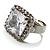 Princess-Cut Clear Crystal Ring (Silver-Tone) - view 3