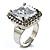 Princess-Cut Clear Crystal Ring (Silver-Tone) - view 2