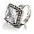 Princess-Cut Clear Crystal Ring (Silver-Tone) - view 4
