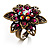 Bronze-Tone Crystal Flower Cocktail Ring (Magenta) - view 2