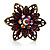 Bronze-Tone Crystal Flower Cocktail Ring (Magenta) - view 3