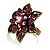Bronze-Tone Crystal Flower Cocktail Ring (Magenta) - view 4