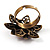 Bronze-Tone Crystal Flower Cocktail Ring (Magenta) - view 5