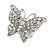 Silver Tone Clear Crystal Butterfly Ring - view 4