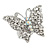 Silver Tone Clear Crystal Butterfly Ring - view 2