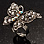 Silver Tone Clear Crystal Butterfly Ring - view 10