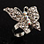 Silver Tone Clear Crystal Butterfly Ring - view 11