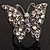 Silver Tone Clear Crystal Butterfly Ring - view 9