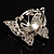 Silver Tone Clear Crystal Butterfly Ring - view 6