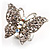 Silver Tone Clear Crystal Butterfly Ring - view 8