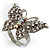 Silver Tone Clear Crystal Butterfly Ring - view 12